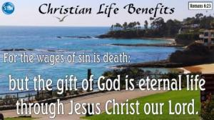 Picture of lovely beach day for the Christian life bs Romans 6:23