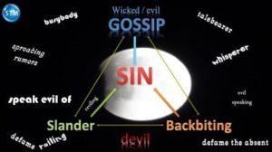 Chart of slanderous talk for the slander bible study