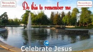 Picture of pond and fountain in park for the celebrate Jesus bible study