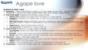 outline for the agape love bible study