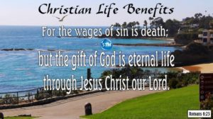 Picture of lovely beach day for the Christian life bl Romans 6:23