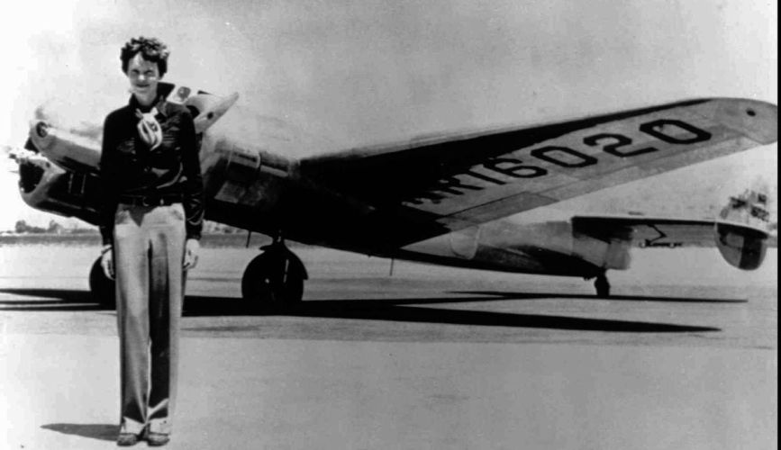 Earhart pictured next to her plane, a Lockheed Electra before taking off to circumnavigate the globe at the equator. Photo courtesy of AP Photos