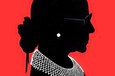 Silhouette showing Ruth Bader Ginsburg and her iconic dissenting opinion collar.