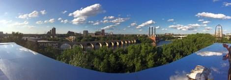 Panorama focusing on the Stone Arch bridge