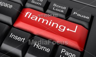 word flaming on keyboard