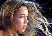 stock young woman wavy blonde