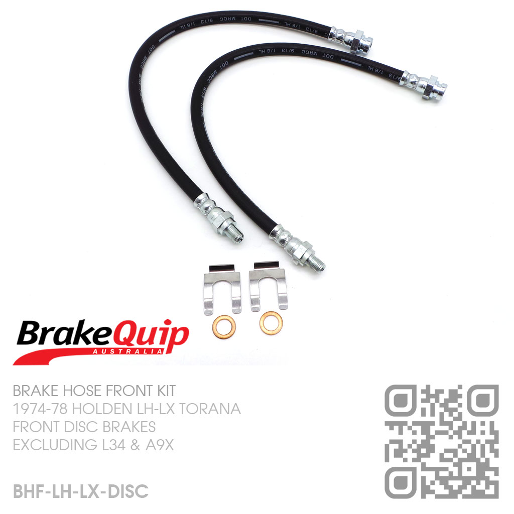 BRAKEQUIP-DISC BRAKE HOSE FRONT KIT WITH CLIPS [1974-78