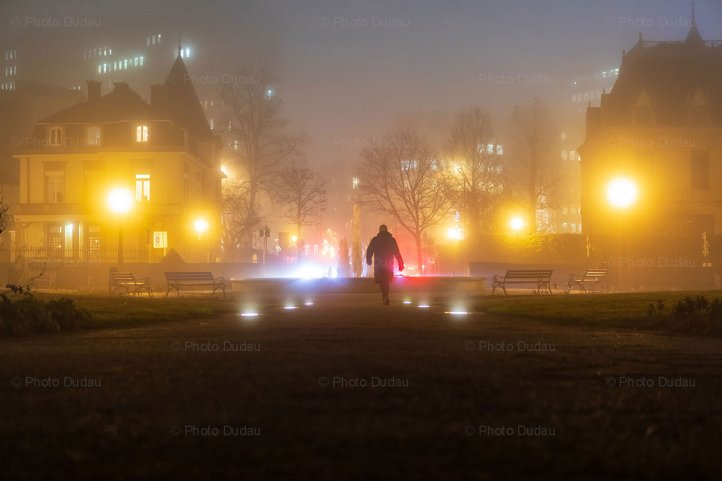 Foggy street at night in Luxembourg