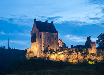Larochette Castle by night
