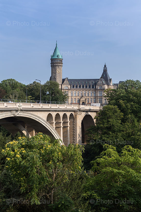 luxembourg landmarks: spuerkeess tower and pont adolphe