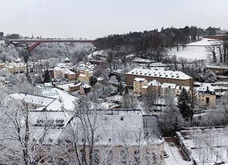 Grund in Luxembourg city under snow