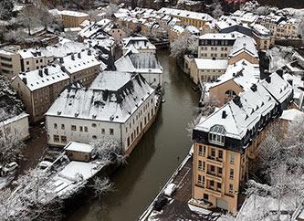 winter scene in Grund, Luxembourg city