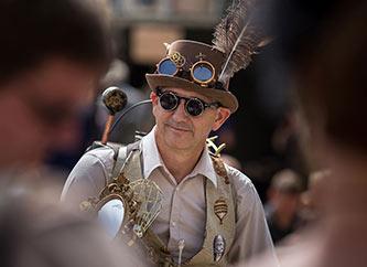 man dressed in steam punk costume