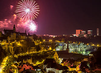 fireworks show over Grund and Kirchberg in Luxembourg city