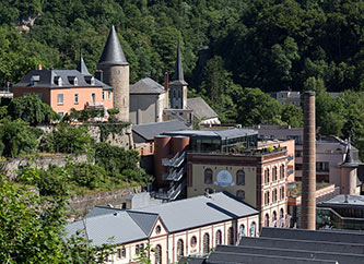 Clausen and old brewery chimney in Luxembourg city.