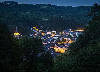 night view of Vianden Town in Our Valley, Ardennes