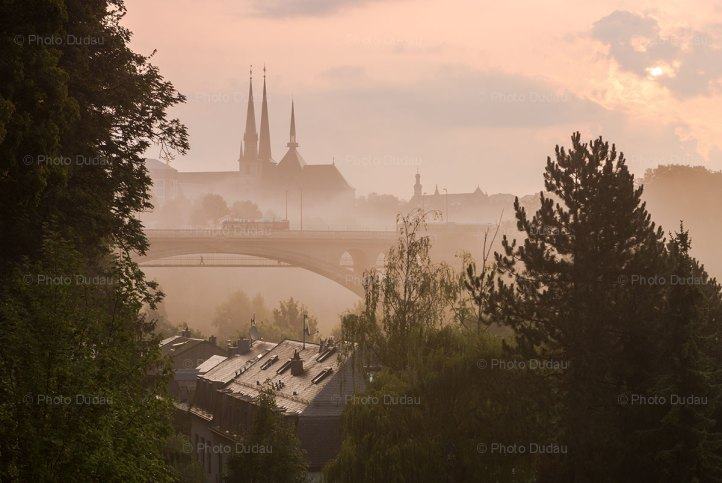 sunrise in luxembourg city with landmarks