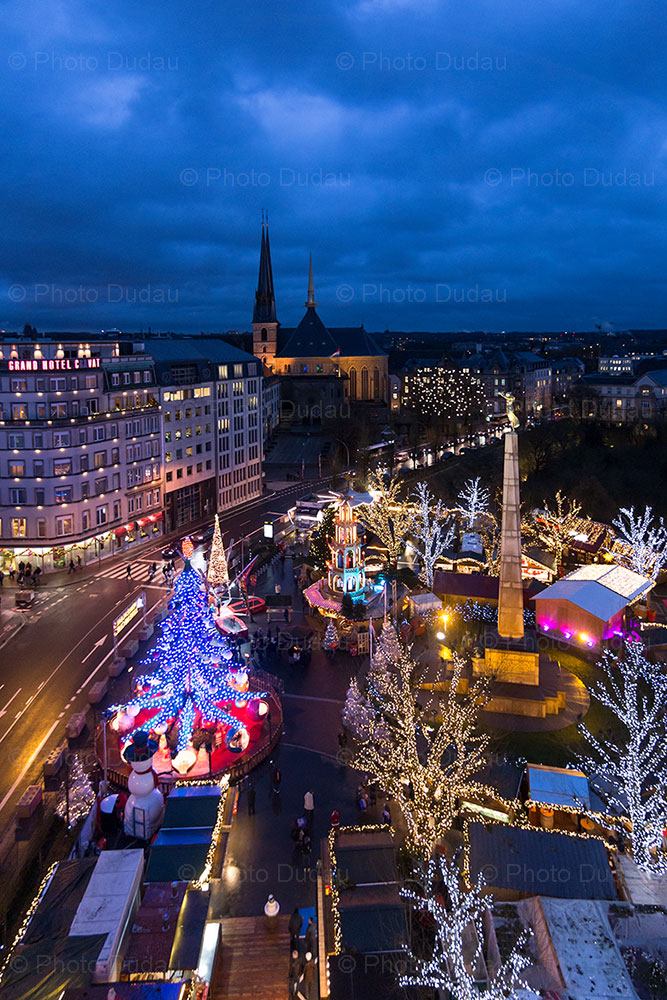 aerial view of Luxembourg Christmas market