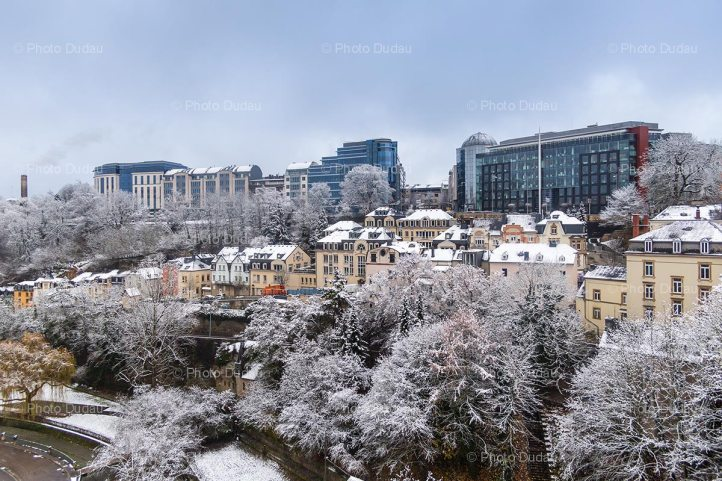Luxembourg city office buildings in winter
