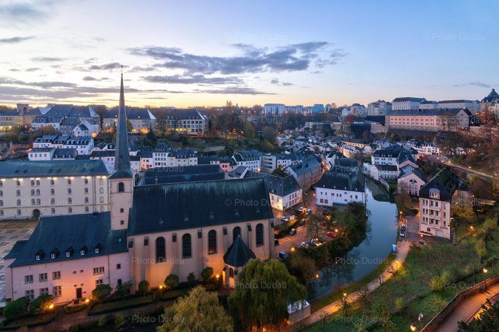 Luxembourg city sunrise in Grund
