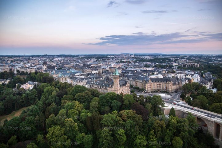 Luxembourg city sunset from above