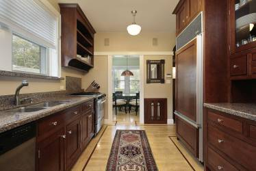 galley kitchen dark cabinets wood kitchens layout corridor cherry floor designs narrow luxury asymmetrical countertops traditional wall long remodel flooring