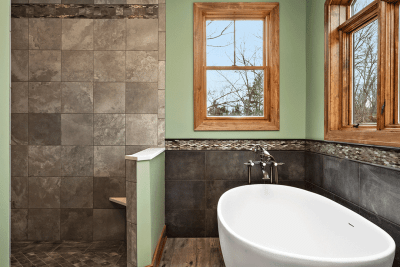 Walk-In Shower and Stand Alone Bathtub