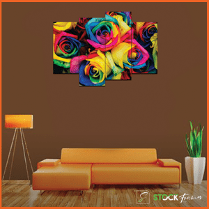 Canvas Print Split Panels (4 in 1) – Colorful Flowers