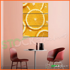 Canvas Prints Triptych – (3 Piece Orange Fruit Wall Art)