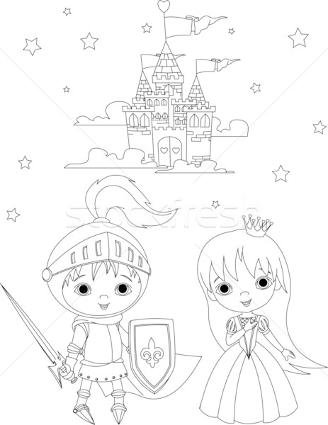 Medieval Knight And Princess Coloring Page Vector