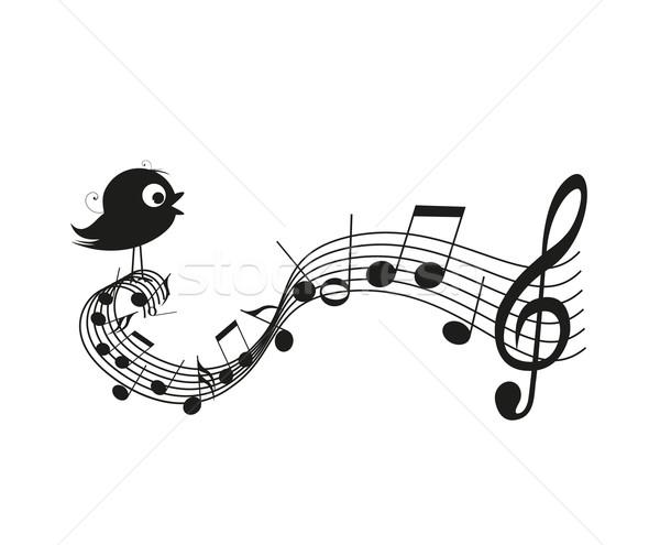 Singen · Vogel · Silhouette · Musiknoten · glücklich