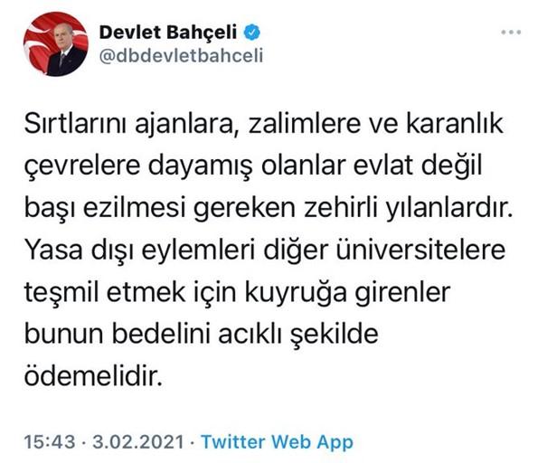 Twitter removes Turkish far-right leader's tweet targeting Boğaziçi students 21