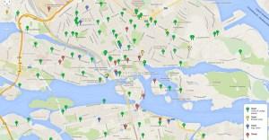 карта пунктов аренды велосипедов citybikes в Стокгольме