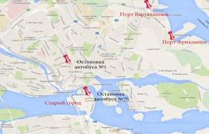 порт Фрихамнен на карте Стокгольма 1