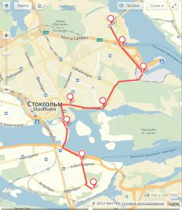 карта яндекса с остановками автобуса 76 в Стокгольме
