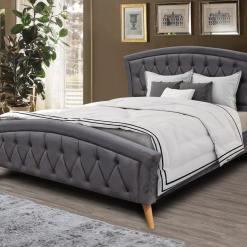 Kingston Dark Grey Fabric Bed