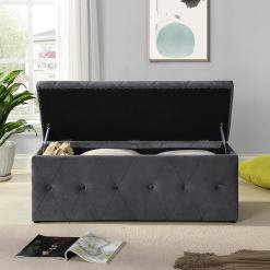 Grey Button Blanket Box