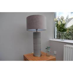 Taupe Table Lamp with Taupe Velvet Shade