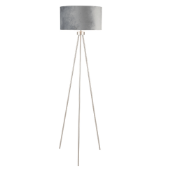 Brushed Silver Tripod Floor Lamp Black Shade