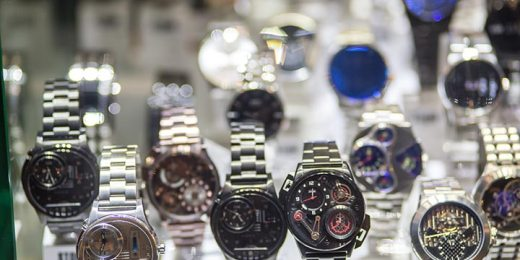 shopping window with watches free stock image