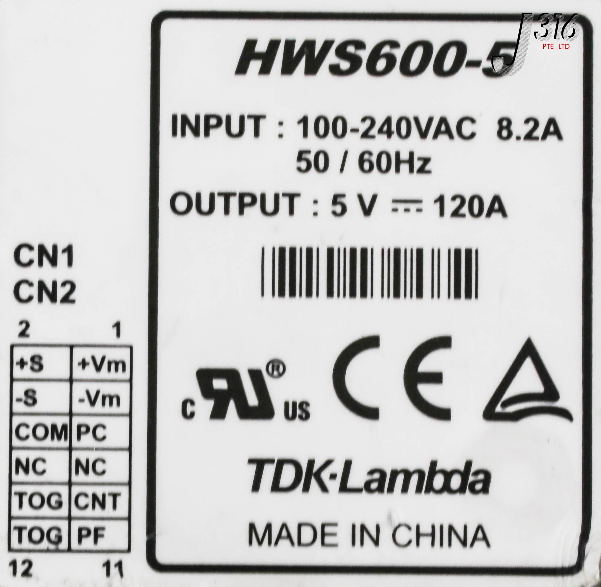 13336 TDK-LAMBDA AC/DC SWITCHING POWER SUPPLY,100-240VAC,8