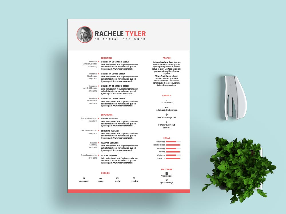 cv resume indesign template