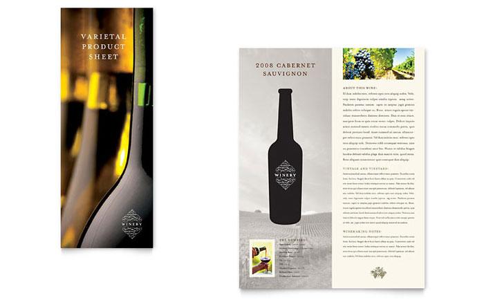 Vineyard Amp Winery Datasheet Template Design