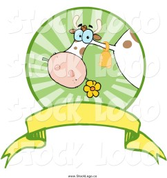 vector clipart of a dairy cow eating a flower in a circle over a banner logo [ 1024 x 1044 Pixel ]