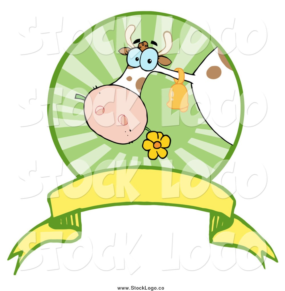 medium resolution of vector clipart of a dairy cow eating a flower in a circle over a banner logo