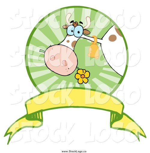 small resolution of vector clipart of a dairy cow eating a flower in a circle over a banner logo