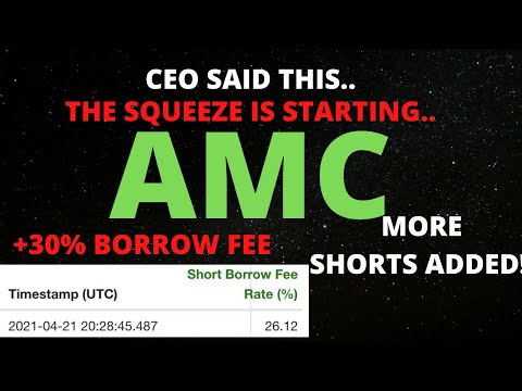AMC STOCK SHORT SQUEEZE IS STARTING! CEO SAID THIS? +30% BORROW FEE? WHAT THEY DONT WANT YOU TO KNOW