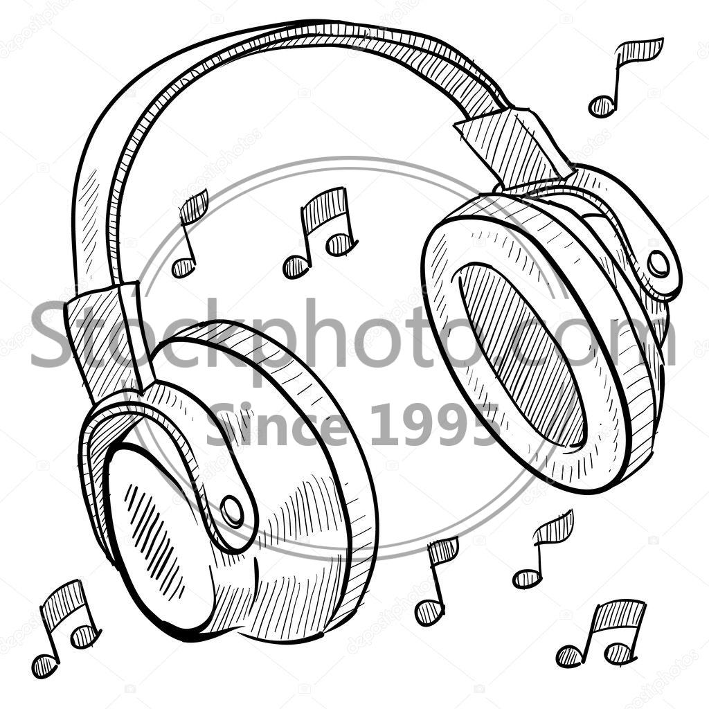 music headphones sketch stock