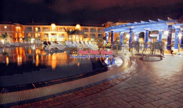 Tropical Resort Pool at Night