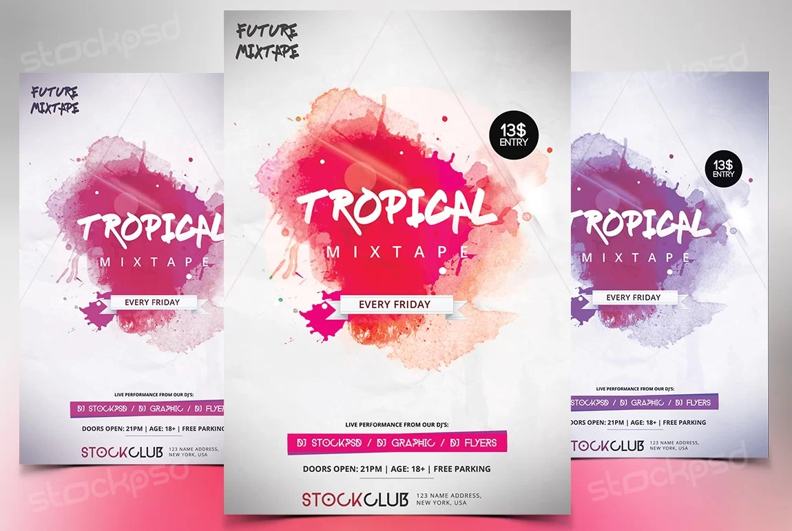 Tropical Mixtape Download FREE PSD Flyer Template